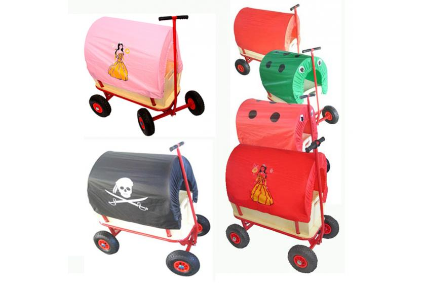 bollerwagen handwagen plane dach rot k fer pirat marienk fer prinzessin ebay. Black Bedroom Furniture Sets. Home Design Ideas