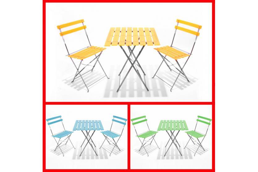 biergarten garnitur tisch 2x stuhl blau gr n orange ebay. Black Bedroom Furniture Sets. Home Design Ideas