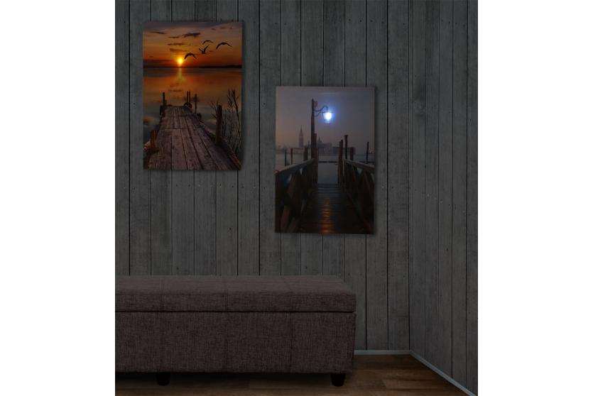 2x led bild mit beleuchtung leinwandbild leuchtbild wandbild 60x40cm pier ebay. Black Bedroom Furniture Sets. Home Design Ideas