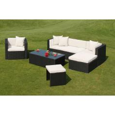 Poly-Rattan Alu-Sofa-Garnitur RomV, 2+1+1+1+ Sessel ~ anthrazit