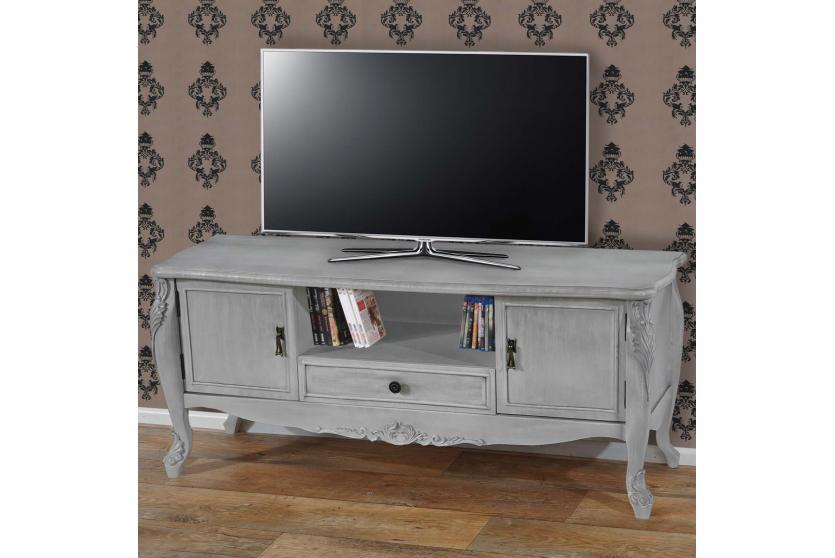 tv rack barletta fernsehtisch barock 54x122x42cm creme wei oder antik wei ebay. Black Bedroom Furniture Sets. Home Design Ideas