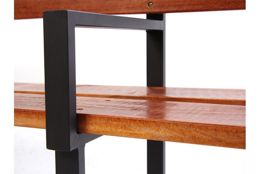 gartenbank bank n49 holz metallgestell 180 cm teakfarben grau ebay. Black Bedroom Furniture Sets. Home Design Ideas