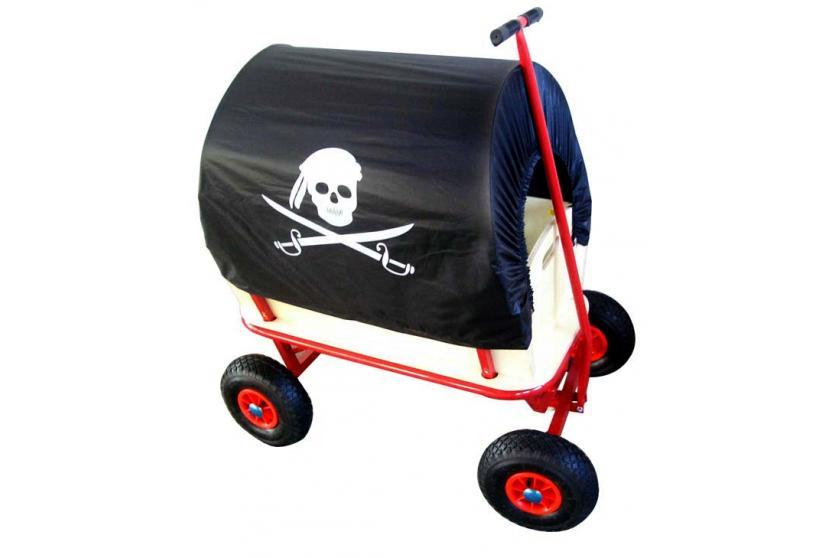 bollerwagen handwagen leiterwagen dach schwarz pirat wahlweise mit sitz ebay. Black Bedroom Furniture Sets. Home Design Ideas