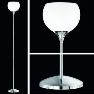 Reality|Trio Deckenfluter Stehlampe in chrom, Acrylschirm weiß