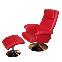 B-Ware| Relaxliege Relaxsessel Fernsehsessel N28 mit Hocker ~  rot