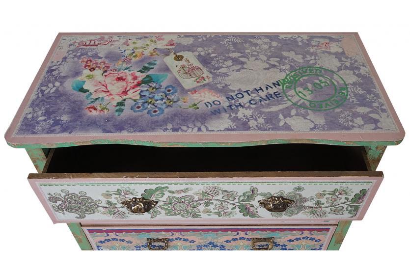 kommode charlotte schubladenkommode shabby look vintage gr n 82x85x40cm ebay. Black Bedroom Furniture Sets. Home Design Ideas