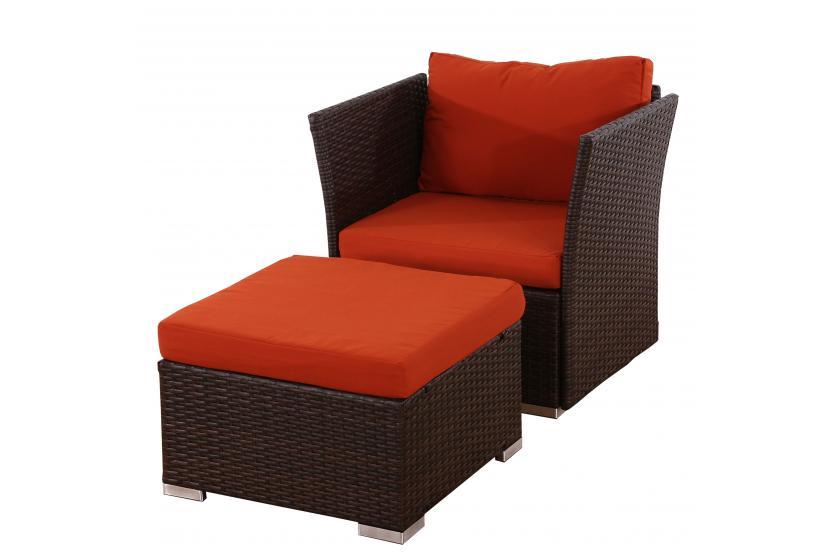 sessel mit ottomane siena poly rattan gastronomie qualit t braun mit kissen in bordeaux. Black Bedroom Furniture Sets. Home Design Ideas