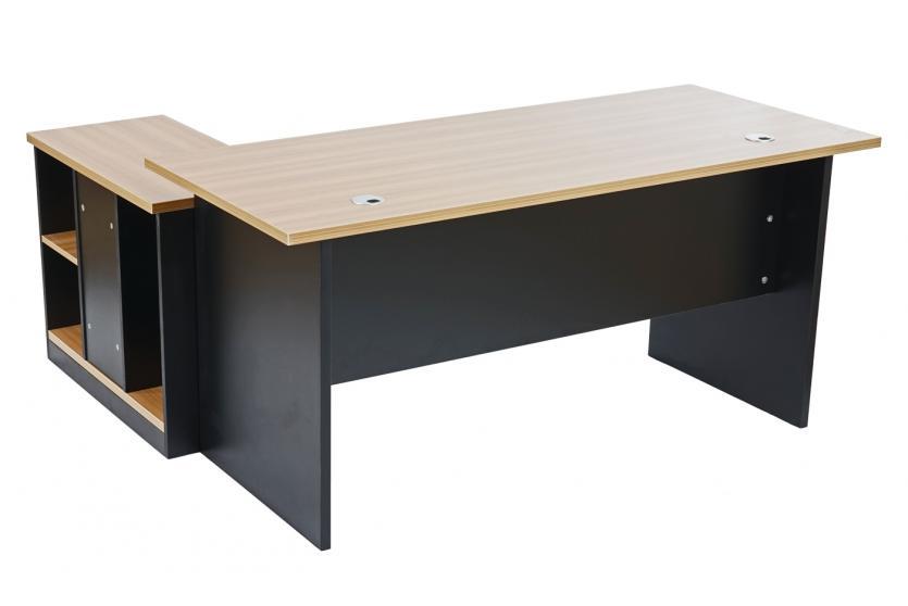 schreibtisch b rotisch eckschreibtisch calgary 160x150x75cm buche mit container ebay. Black Bedroom Furniture Sets. Home Design Ideas