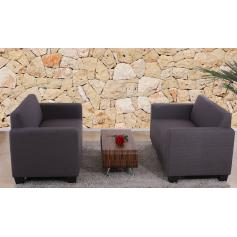 Sofa-Garnitur Couch-Garnitur 2x 2er Sofa Lyon Textil ~ anthrazit