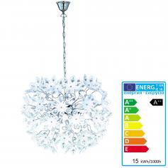 Reality|Trio LED-Pendelleuchte, 15W-LED, EEK A++, chrom, Acrylbl�ten wei�, �=50cm, L=150cm