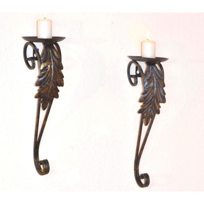 2er set wand kerzenhalter h127 kerzenst nder wandleuchter metall 39x12x13cm. Black Bedroom Furniture Sets. Home Design Ideas