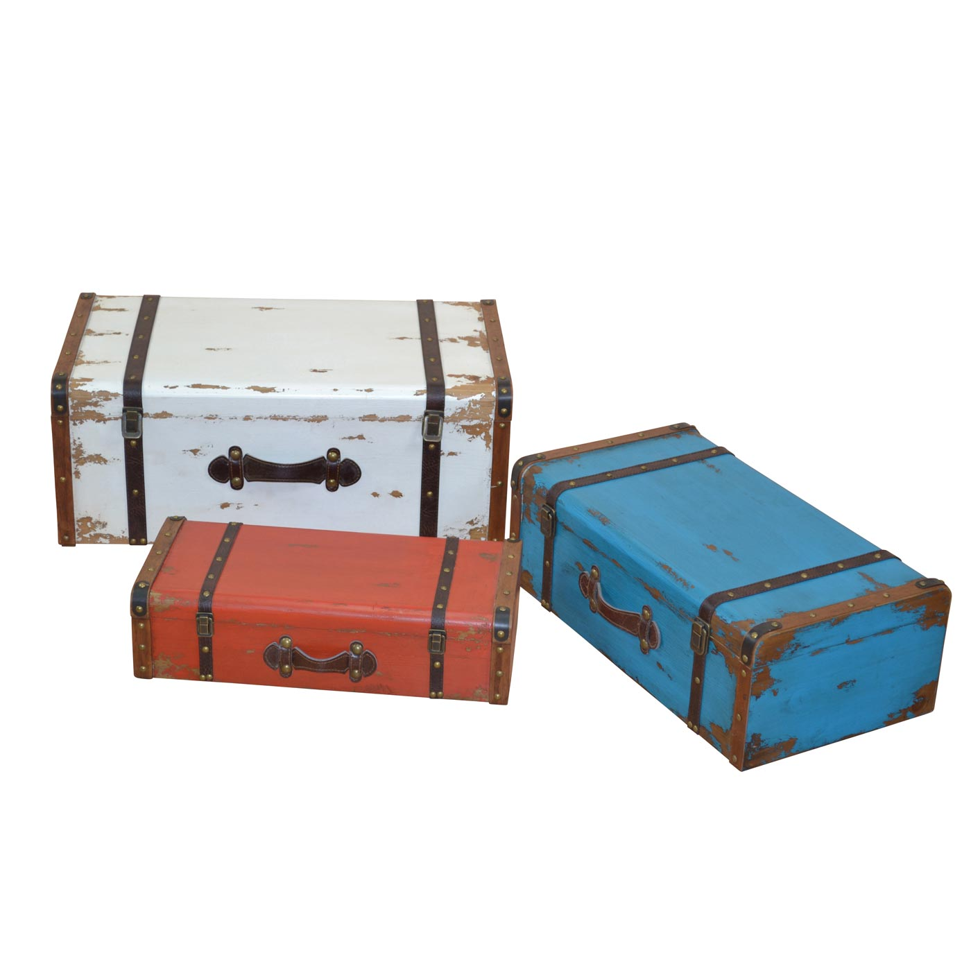 Vintage Koffer 3er set koffer h175 holzkoffer kofferset holzkoffer shabby look vintage 29x71x42cm