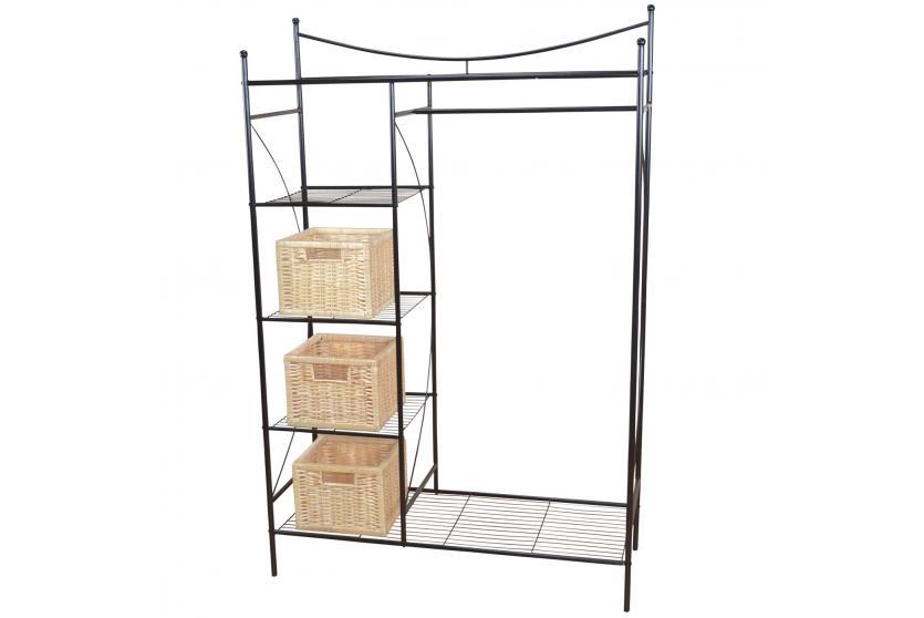 metall garderobe h147 garderobenst nder kleiderschrank metallregal 169x111x40cm schwarz. Black Bedroom Furniture Sets. Home Design Ideas