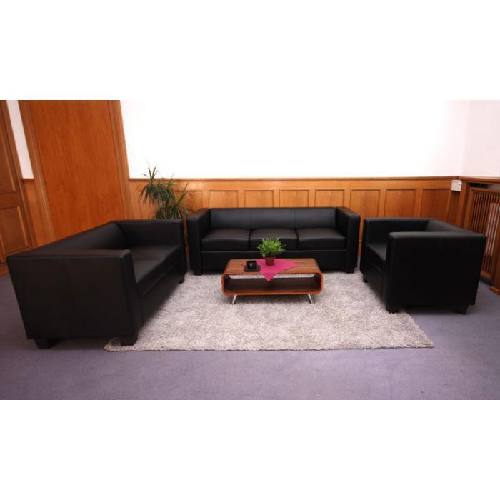3er Sofa Couch Loungesofa Lille Leder Schwarz