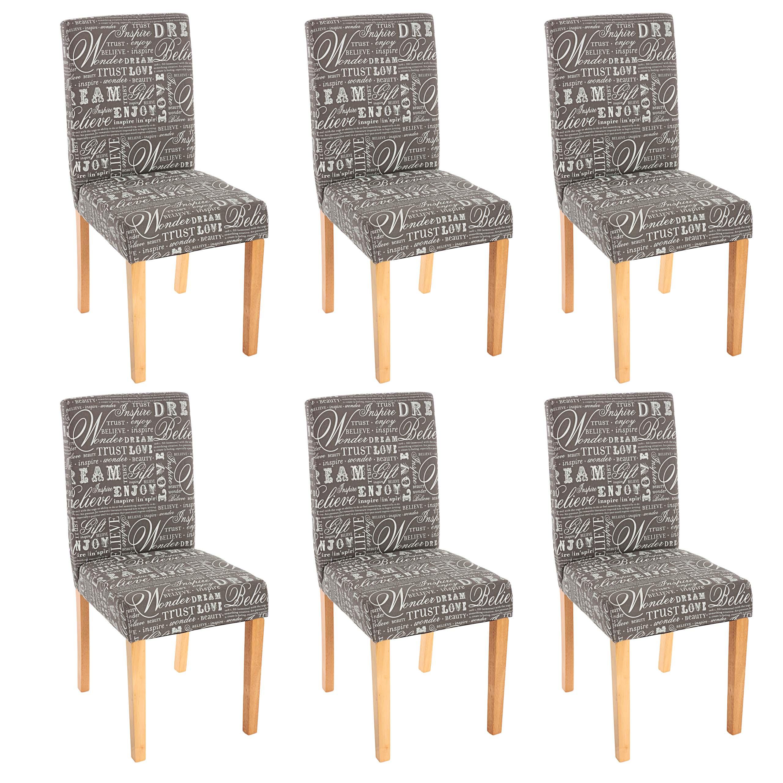 6x esszimmerstuhl stuhl lehnstuhl littau textil mit schriftzug grau helle beine ebay. Black Bedroom Furniture Sets. Home Design Ideas
