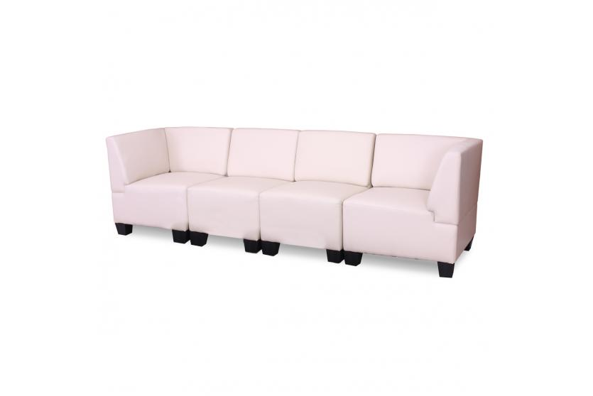 modular 4 sitzer sofa couch lyon kunstleder creme hohe. Black Bedroom Furniture Sets. Home Design Ideas