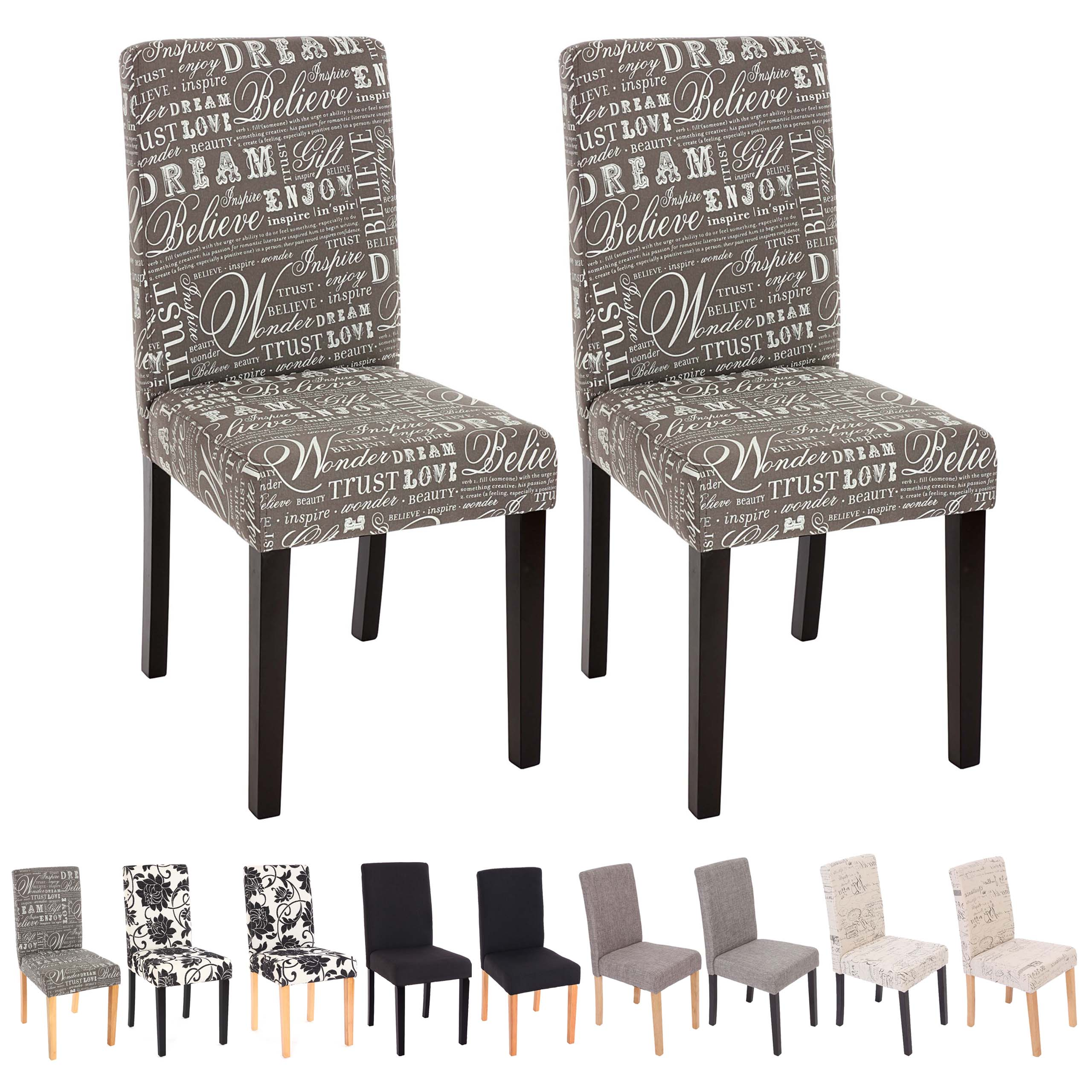 6x esszimmerstuhl stuhl lehnstuhl littau textil uni jacquard schriftzug ebay. Black Bedroom Furniture Sets. Home Design Ideas