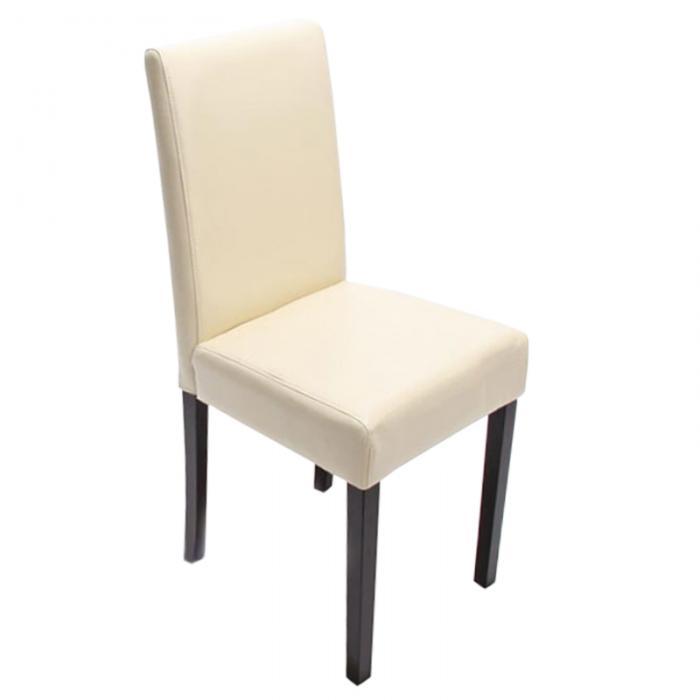 6x esszimmerstuhl stuhl lehnstuhl littau leder creme dunkle beine. Black Bedroom Furniture Sets. Home Design Ideas