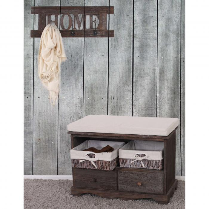 Garderobe mit Sitzbank Kommode mit 2 Körben 42x62x33cm, Shabby-Look,  Vintage ~ braun