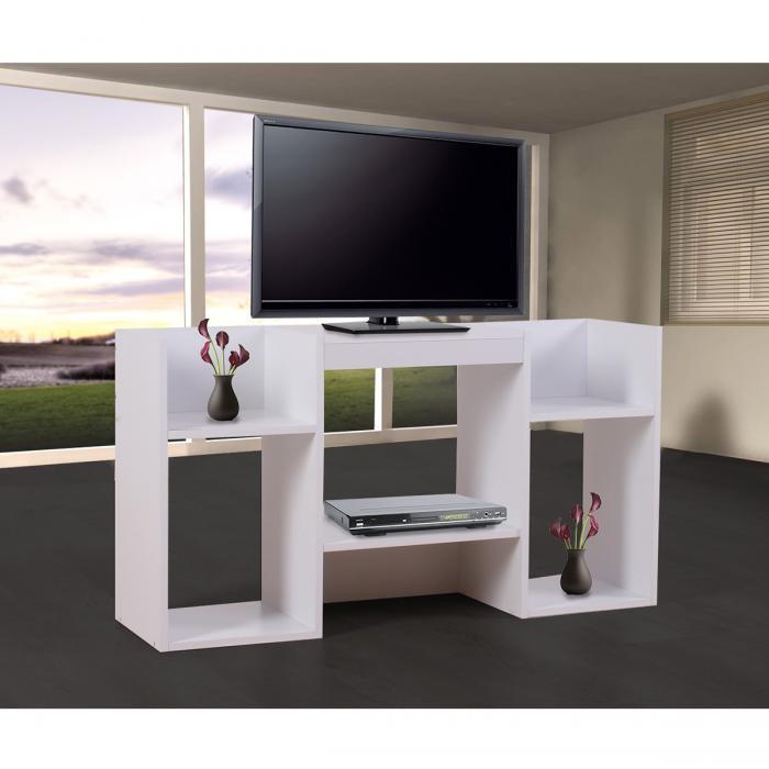 Tv rack holz weiß  Rack Fernsehtisch Standregal aus Holz 109x59x30 cm ~ weiß