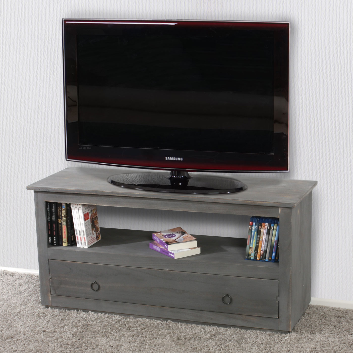 tv rack fernsehtisch lowboard tv regal shabby look vintage braun wei grau ebay. Black Bedroom Furniture Sets. Home Design Ideas