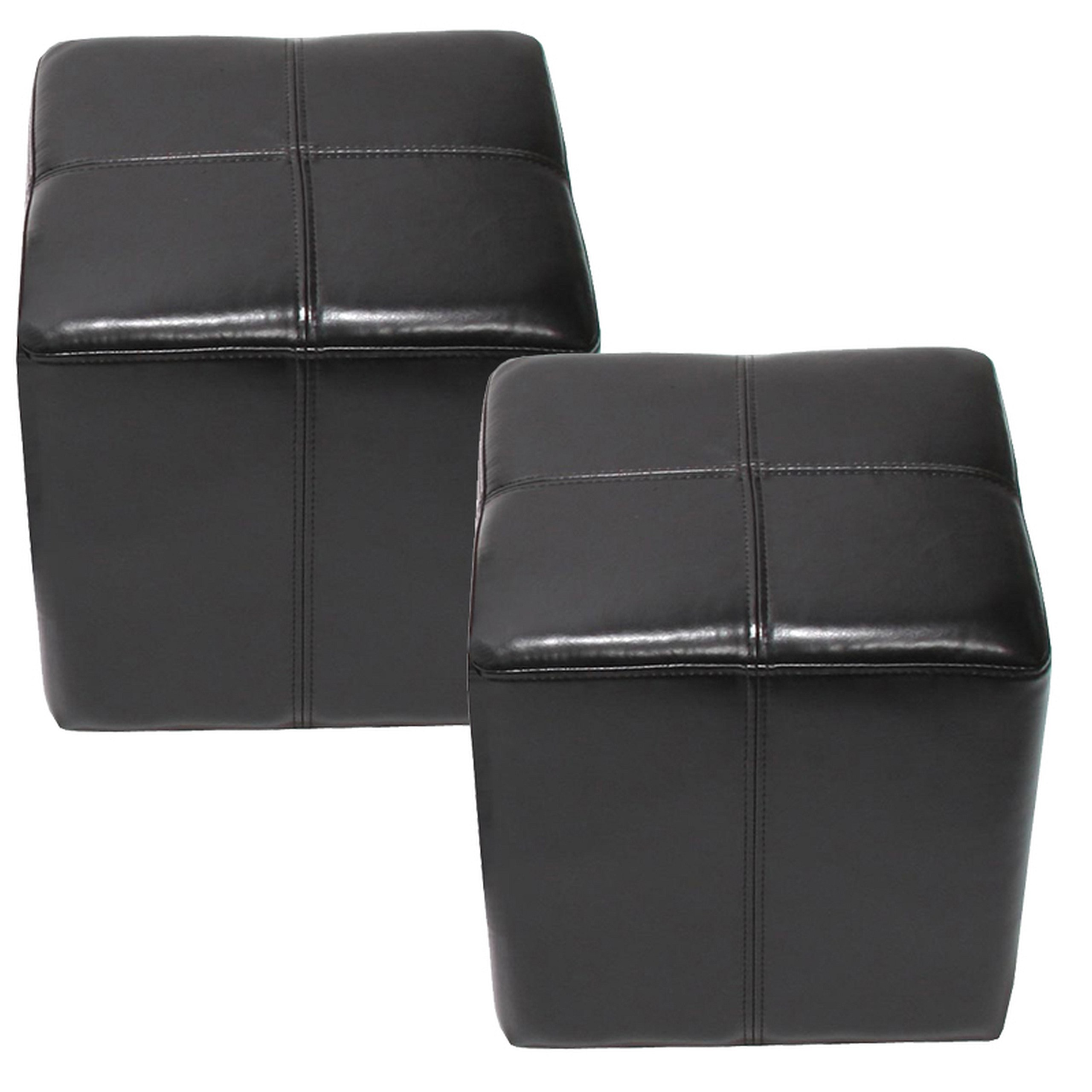 2x sitzw rfel hocker sitzhocker onex leder 36x36x36cm schwarz. Black Bedroom Furniture Sets. Home Design Ideas