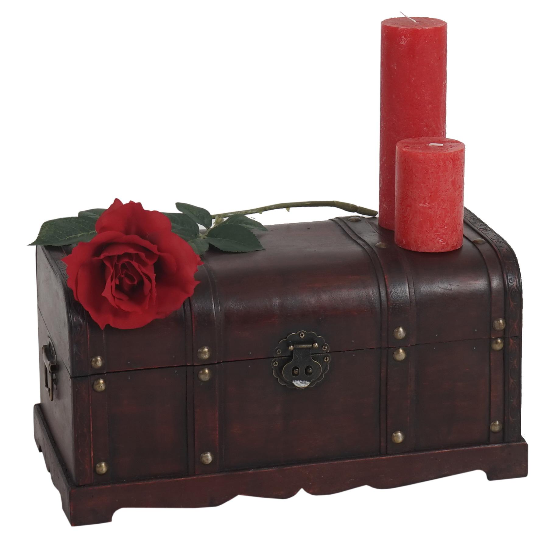 Mendler Holztruhe Holzbox Schatztruhe Valence Antikoptik 24x46x23cm ~ Variantenangebot 34228