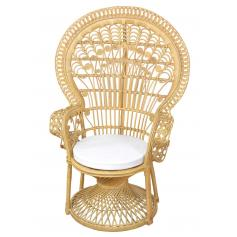 Pfauenthron H37, Sessel Relaxsessel Thron, Rattan, 130x88x71cm ~ beige