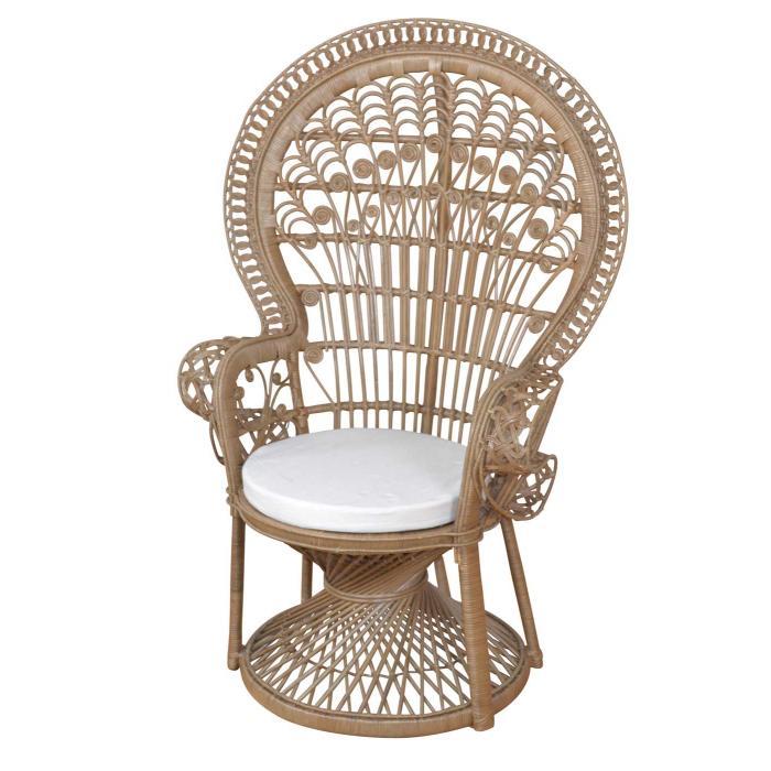pfauenthron h37 sessel relaxsessel thron rattan 130x88x71cm grau. Black Bedroom Furniture Sets. Home Design Ideas