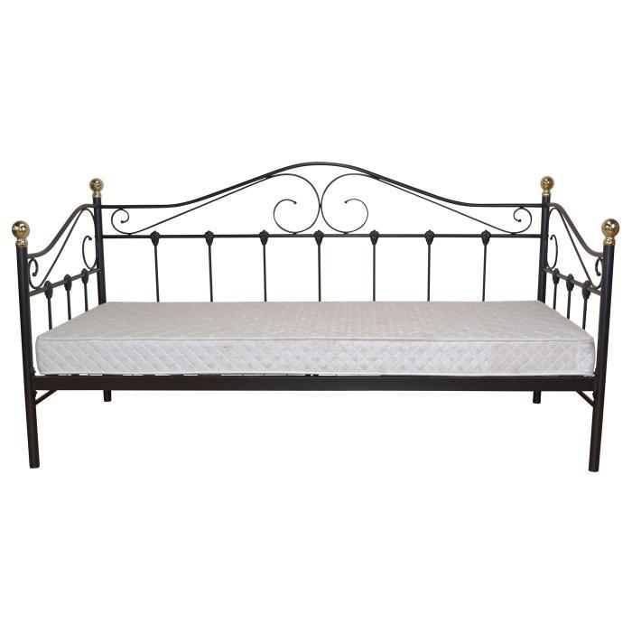 Bett H163 Gastebett Day Bed Metall Pulverbeschichtet Mit