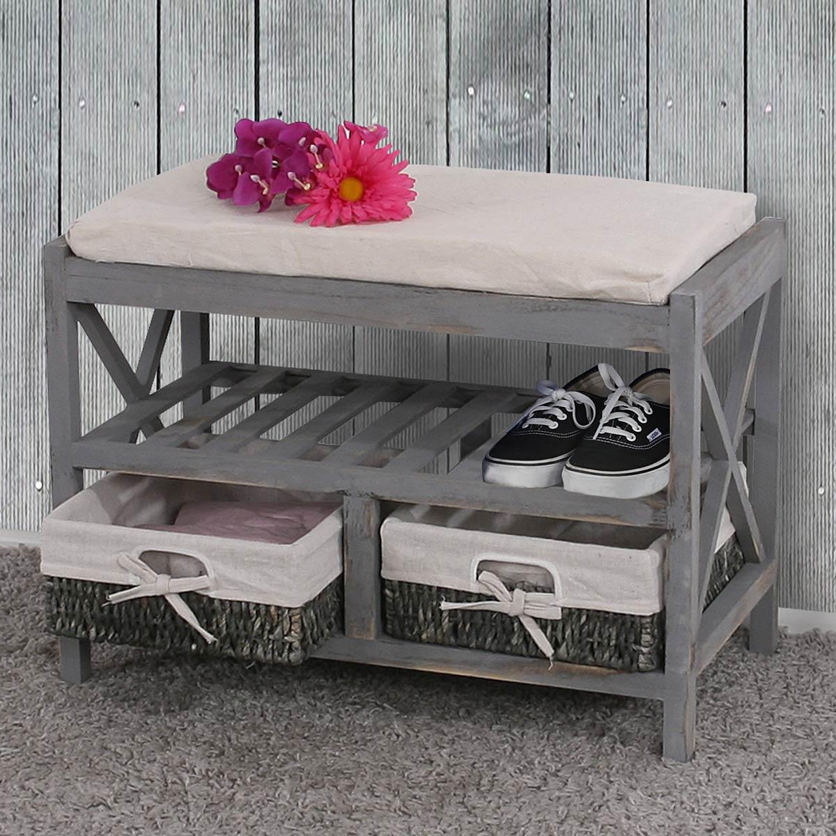 schuhregal sitzbank 45x65x34cm shabby look vintage grau. Black Bedroom Furniture Sets. Home Design Ideas