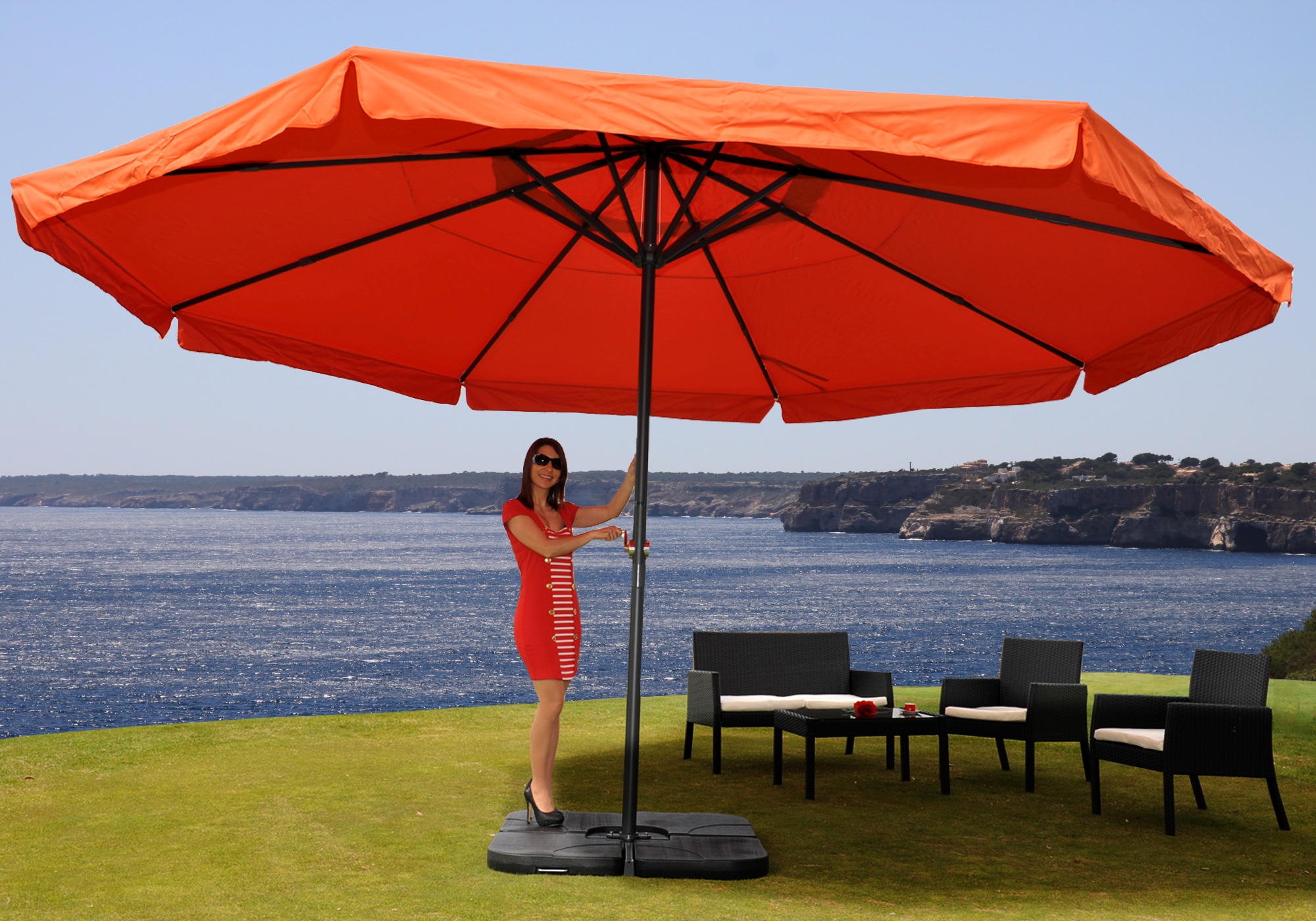 alu sonnenschirm gastronomie marktschirm gartenschirm meran 5m farbauswahl ebay. Black Bedroom Furniture Sets. Home Design Ideas