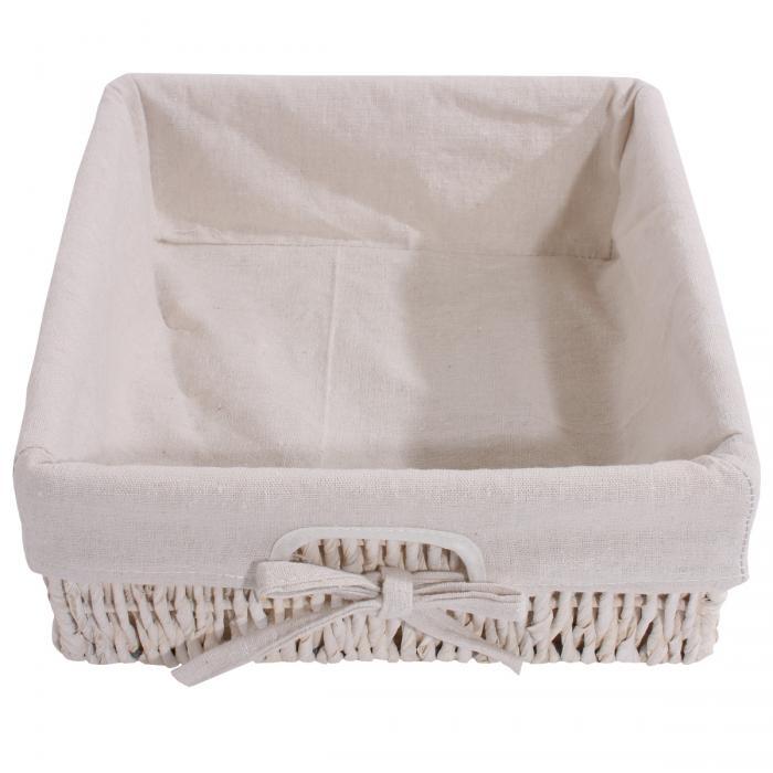 Garderobe mit Sitzbank Kommode mit 2 Körben 42x62x33cm, Shabby-Look,  Vintage ~ weiß