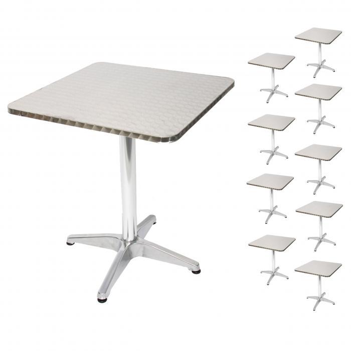 10x Alu Bistrotisch M28 Tisch Set Gartentisch Rechteckig 60cm
