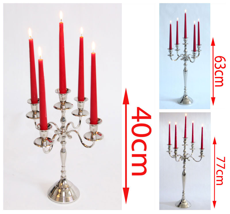 Mendler Kerzenleuchter Kerzenständer, 5-armig, aus Metall, vernickelt ~ Variantenangebot 12187