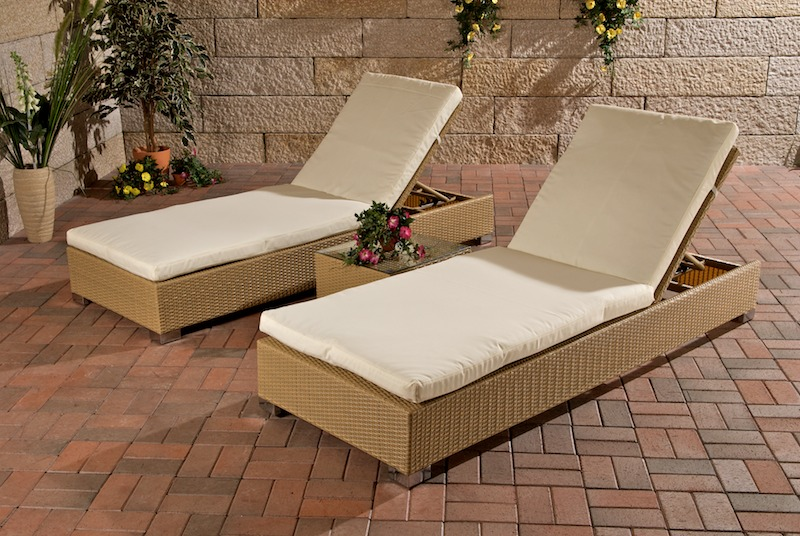 2x sonnenliege relaxliege gartenliege mit tisch sand. Black Bedroom Furniture Sets. Home Design Ideas