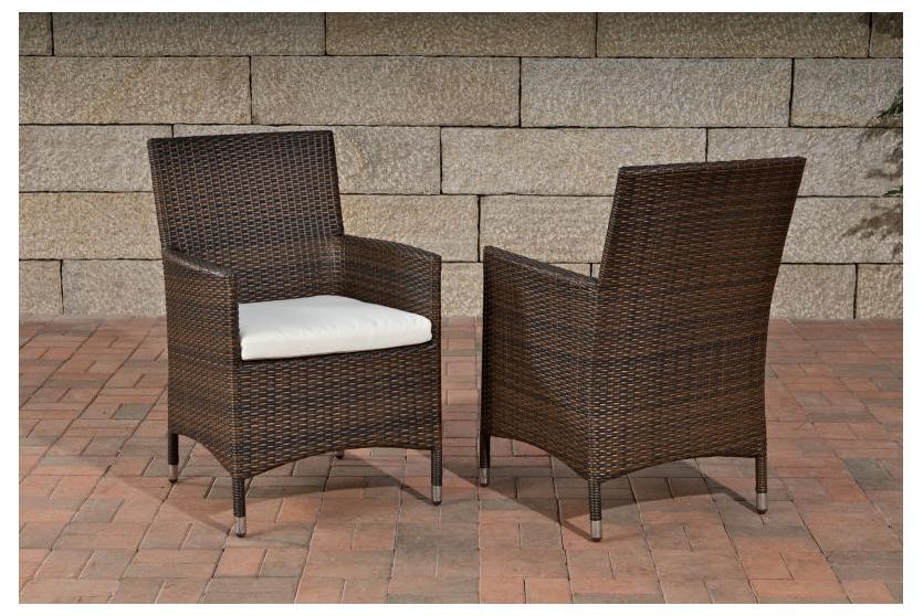 Gartenstühle rattan braun  Stuhl, Gartenstuhl Julia, Polyrattan ~ braun-meliert