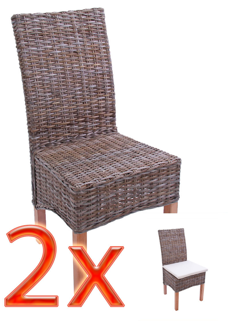 Mendler 2x Esszimmerstuhl Korbstuhl Stuhl M44, Kubu-Rattan ~ Variantenangebot 12408