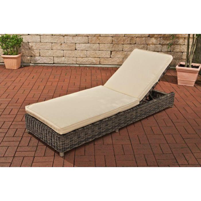 Gartenliege rattan grau  Poly-Rattan Sonnenliege CP413, Gartenliege Relaxliege ~ grau-meliert