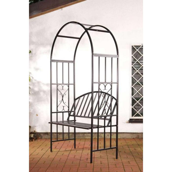 rosenbogen cp457 metall mit bank schwarz. Black Bedroom Furniture Sets. Home Design Ideas