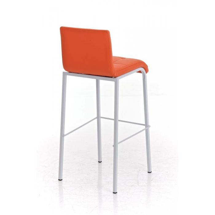 Barhocker cp123 barstuhl kunstleder gestell wei orange for Barhocker orange