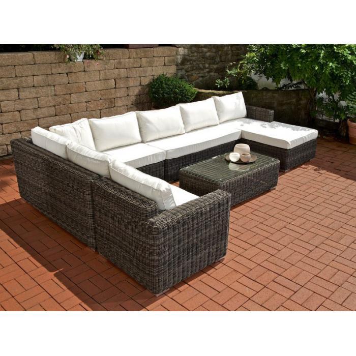 sofa garnitur cp054 lounge set gartengarnitur poly rattan kissen creme grau meliert. Black Bedroom Furniture Sets. Home Design Ideas