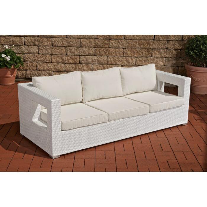 3er Sofa Cp051 3 Sitzer Poly Rattan Weiß