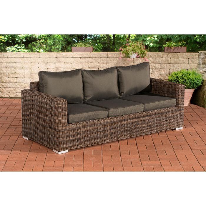 3er sofa cp053 3 sitzer poly rattan kissen anthrazit - Gartensofa 3 sitzer ...