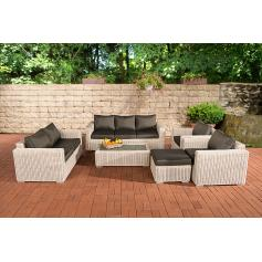 3-2-1-1 Sofa-Garnitur CP050 Lounge-Set Gartengarnitur Poly-Rattan ~ Kissen anthrazit, perlweiß