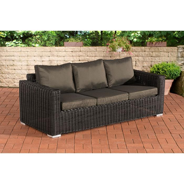 Polyrattan sofa 3 sitzer trendy gartenmobel lounge set for Polyrattan sofa 3 sitzer