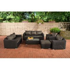 3-2-1-1 Sofa-Garnitur CP050 Lounge-Set Gartengarnitur Poly-Rattan ~ Kissen anthrazit, schwarz