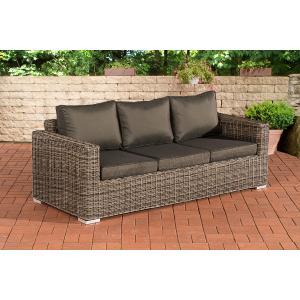 3er sofa cp053 3 sitzer poly rattan kissen anthrazit grau meliert. Black Bedroom Furniture Sets. Home Design Ideas