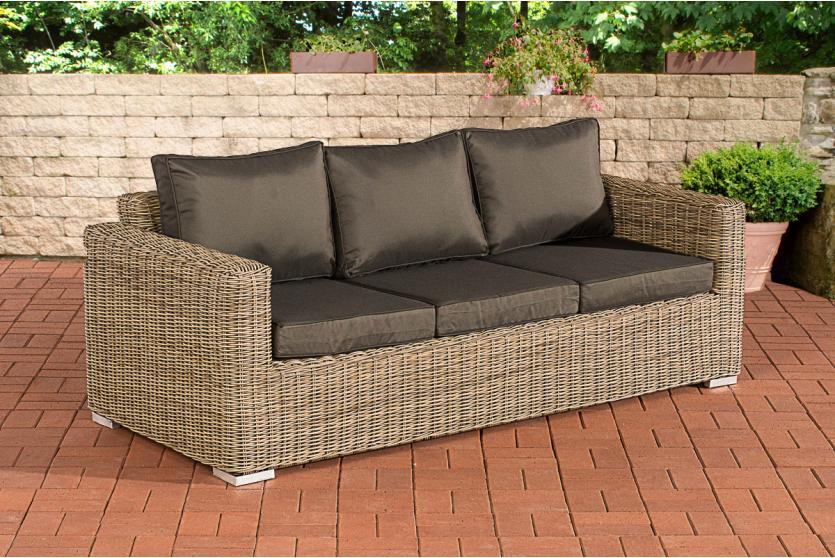 3er sofa cp053 3 sitzer poly rattan kissen anthrazit natur. Black Bedroom Furniture Sets. Home Design Ideas