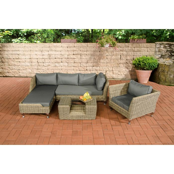 Garnitur CP055, Lounge-Set Gartengarnitur, Poly-Rattan ~ Kissen ...